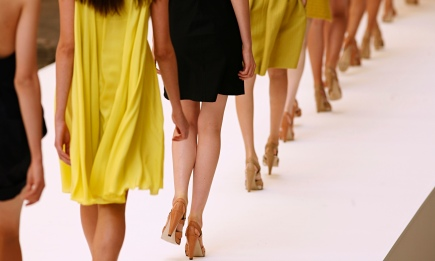 Legs of models on the catwalk