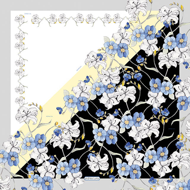 alb negru flori