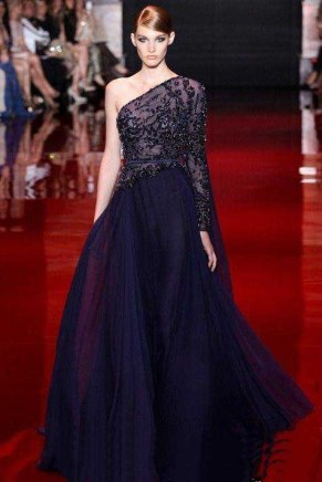 One-Shoulder-Elegant-Top-Beaded-A-Line-font-b-Navy-b-font-font-b-Blue-b