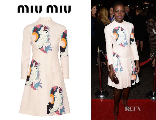 Lupita-Nyong'os-Miu-Miu-Printed-Cady-Dress