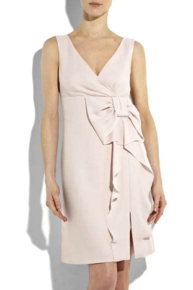 Pastel-pink crepe bow and ruffle-embellished sleeveless shift dress
