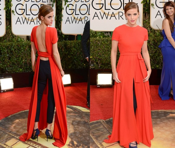 Emma-went-for-something-daring-at-this-years-Golden-GlobesThe-23-year-old-showed-off-her-bare-back-and-black-pants-underneath-her-orange-gown