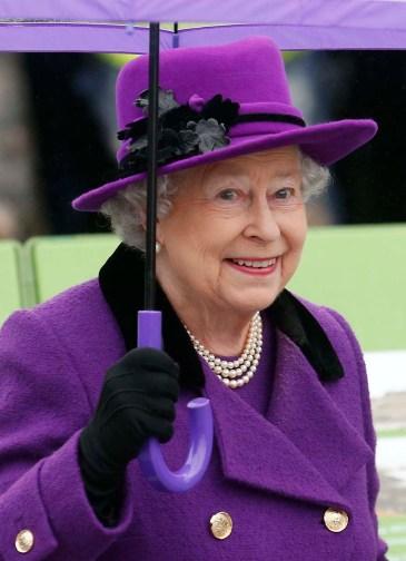 Britain's Queen Elizabeth arrives at Jubilee Gardens in London