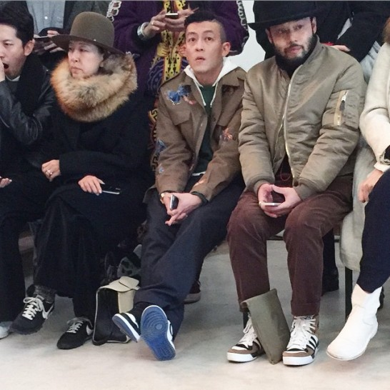 edison-chen-wears-valentino-spring-summer-2015-butterfly-patch-nike-air-jordan-fragment-sneakers-shoes-front-row-runway