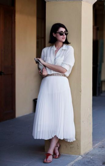 white shirt and pleated skirt